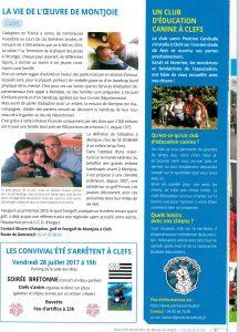 Article dans le bulletin de Baugé au trimestre été 2017 pour informer de l'ouverture du club canin Positive canitude