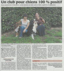 Article du courrier de l'ouest paru en août 2017 pour l'ouverture du club canin positive canitude